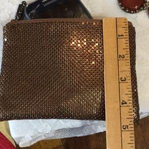 Whiting & Davis Bags - Whiting & Davis, Zippered Bronze Clutch,